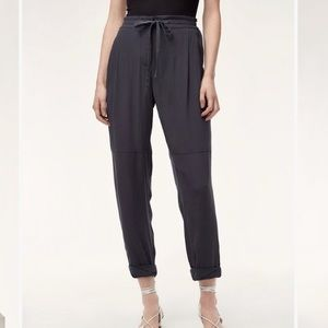 Wilfred 'Marais' 100% silk pants in black